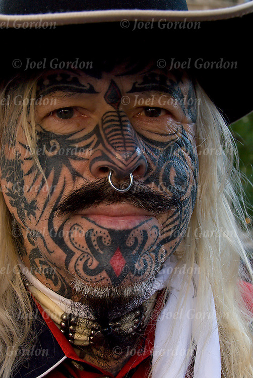 Face and hand tattoos male, he calls himself Outlaw Bobby Steele.<br /> <br /> Body art or tattoos has entered the mainstream it is known longer considered a weird kind of subculture.<br /> <br /> &quot;According to a 2006 Pew survey, 40% of Americans between the ages of 26 and 40 have been tattooed&quot;