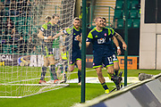 Alex Gogic (#13) of Hamilton Academical FC celebrates after scoring the opening goal during the Ladbrokes Scottish Premiership match between Hibernian FC and Hamilton Academical FC at Easter Road Stadium, Edinburgh, Scotland on 22 January 2020.