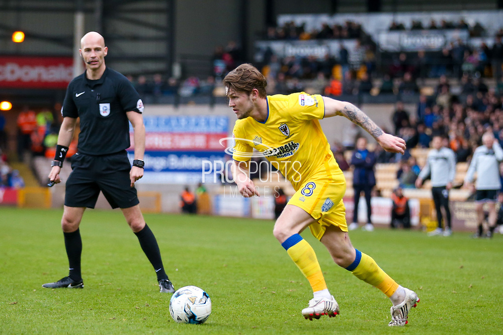 AFC Wimbledon midfielder Jake Reeves (8) in action  during the EFL Sky Bet League 1 match between Port Vale and AFC Wimbledon at Vale Park, Burslem, England on 1 April 2017. Photo by Simon Davies.