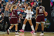 South Carolina Gamecocks forward A'ja Wilson #22 reacts after being fouled against the Mississippi State Lady Bulldogs during the NCAA Women's Championship game at the American Airlines Center in Dallas, Texas on April 2, 2017.  (Cooper Neill for The Players Tribune)