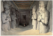 Giant limestone statues of Ramses II (Rameses - 1304-1237 BC) holding  the crook and the flail, symbols of kingship, Temple of Ramses, Abu Simbel (Simbul). On left each statue has cartouche for Rameses carved on shoulder.  From watercolour by Scottish artist David Roberts (1796-1864) dated 9 November 1936.