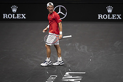 September 21, 2018 - Chicago, Illinois, U.S - DIEGO SCHWARTZMAN of Argentina cheers as he looks to Team World's bench during the third singles match on Day One of the Laver Cup at the United Center in Chicago, Illinois. (Credit Image: © Shelley Lipton/ZUMA Wire)