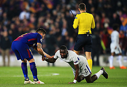 Andre Gomes of Barcelona helps up a dejected Antonio Rudiger of Chelsea at full time - Mandatory by-line: Matt McNulty/JMP - 14/03/2018 - FOOTBALL - Camp Nou - Barcelona, Catalonia - Barcelona v Chelsea - UEFA Champions League - Round of 16 Second Leg