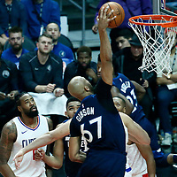 06 December 2017: Minnesota Timberwolves forward Taj Gibson (67) goes for the dunk during the Minnesota Timberwolves 113-107 victory over the LA Clippers, at the Staples Center, Los Angeles, California, USA.