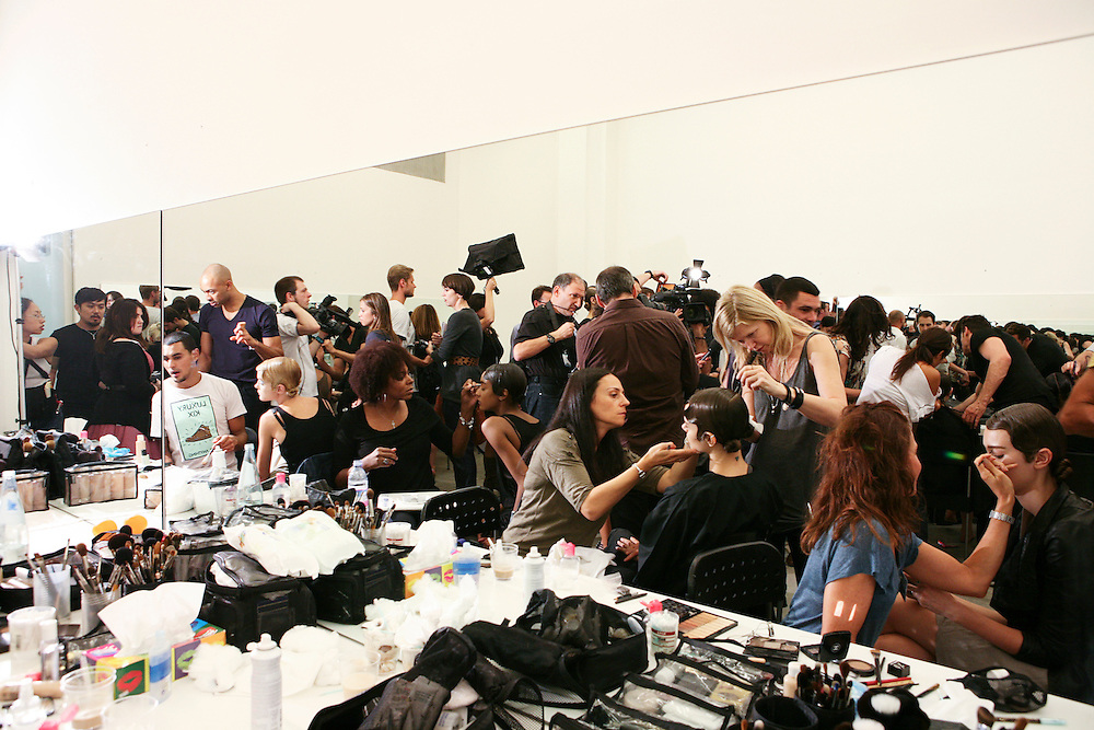 Milan, Italy, September 23, 2010. Backstage at Prada during the Milan Women's Fashion Week Spring/Summer 2011.