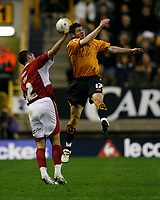 Photo: Steve Bond/Sportsbeat Images.<br /> Wolverhampton Wanderers v Bristol City. Coca Cola Championship. 03/11/2007. Bradley Orr (L) loses out to Matt Jarvis (R)