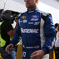 Race car driver Ricky Stenhouse Jr. is seen as he makes his way to the drivers meeting prior to the 58th Annual NASCAR Daytona 500 auto race at Daytona International Speedway on Sunday, February 21, 2016 in Daytona Beach, Florida.  (Alex Menendez via AP)