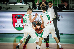 Oleksandr Lypovyy of Promitheas Patras between Roko Badzim of Petrol Olimpija and Aleksandar Lazic of Petrol Olimpija during basketball match between KK Petrol Olimpija and Promitheas Patras in Round #9 of FIBA Basketball Champions League 2018/19, on December 18, 2018 in Arena Stozice, Ljubljana, Slovenia. Photo by Vid Ponikvar / Sportida