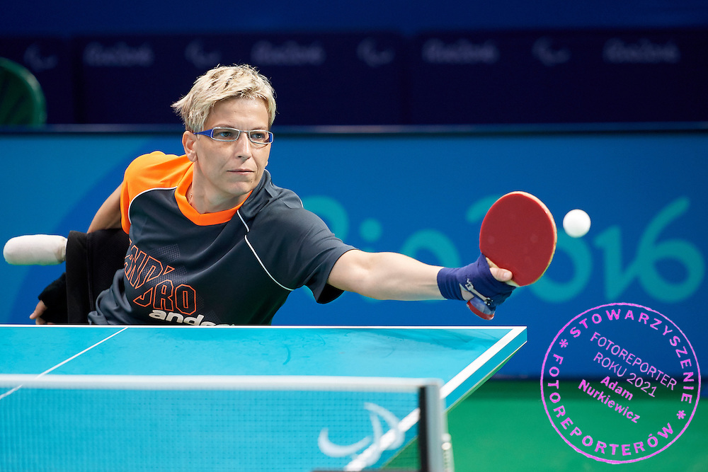 Rio de Janeiro, Brazil - 2016 September 03: Dorota Buclaw from Poland plays +during table tennis training session in Riocentro Pavilion 3 while 2016 Summer Paralympic Games on September 03, 2016 in Rio de Janeiro, Brazil.<br /> Rio 2016 Paralympic Games will be held from September 7 until 18.<br /> <br /> Adam Nurkiewicz declares that he has no rights to the image of people at the photographs of his authorship.<br /> <br /> Picture also available in RAW (NEF) or TIFF format on special request.<br /> <br /> Any editorial, commercial or promotional use requires written permission from the author of image.<br /> <br /> Mandatory credit:<br /> Photo by &copy; Adam Nurkiewicz / Mediasport