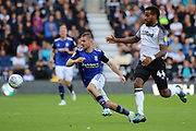 Birmingham City midfielder Dan Crowley and Derby County midfielder Tom Huddlestone challenge for the ball during the EFL Sky Bet Championship match between Derby County and Birmingham City at the Pride Park, Derby, England on 28 September 2019.