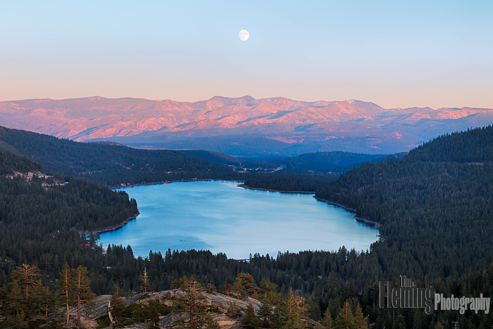 "A ""super-moon"" rising over Donner Lake, in the Sierra mountains of California on November 13, 2016."