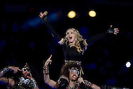 INDIANAPOLIS, IN - FEBRUARY 05:  Madonna performs during the half time show during Super Bowl XLVI at Lucas Oil Stadium on February 5, 2012. (Photo by Tom Hauck)