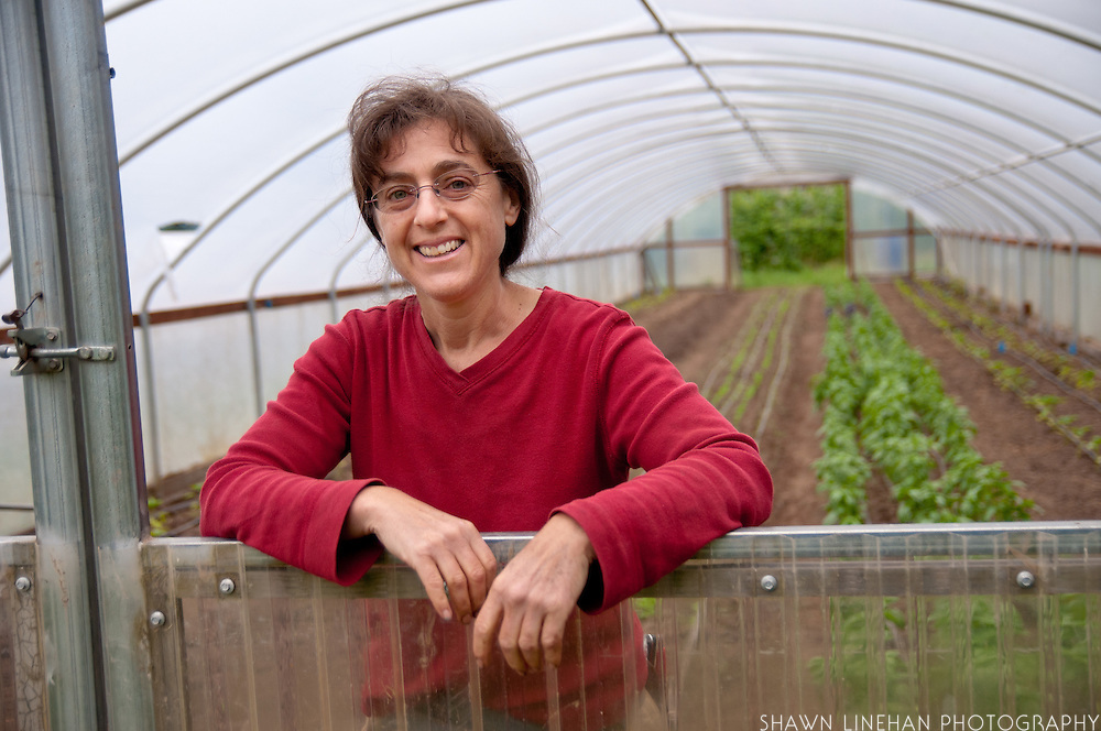 Portrait of female farmer Shari Sirkin at Dancing Roots in Troutdale, Oregon.