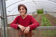 Portrait of female farmer Shari Sirkin at Dancing Roots in Troutdale, Oregon.