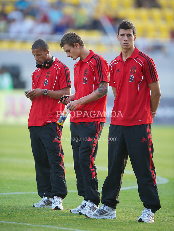 SKOPJE, MACEDONIA - Thursday, July 29, 2010: Liverpool's Nathan Eccleston, goalkeeper Martin Hansen and Daniel Sanchez Ayala before the UEFA Europa League 3rd Qualifying Round 1st Leg match against FK Rabotnicki at the National Arena Filip II Stadium. (Pic by David Rawcliffe/Propaganda)
