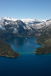 """""""Emerald Bay, Lake Tahoe Aerial 4"""" - Photograph of Emerald Bay in Lake Tahoe, shot from an amphibious seaplane with the door removed."""