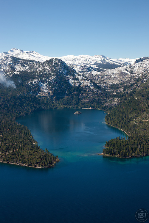 """Emerald Bay, Lake Tahoe Aerial 4"" - Photograph of Emerald Bay in Lake Tahoe, shot from an amphibious seaplane with the door removed."