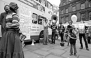Sheffield Celebrated Street Band. Cheap Bus Fares Festival. Sheffield.