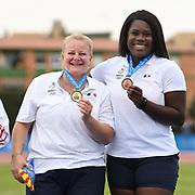 Alexandra Tavernier (FRA) Gold medal and Camille Sainte Luce (FRA) Bronze medal on Women's Hammer final during the Jeux Mediterraneens 2018, in Tarragona, Spain, Day 6, on June 27, 2018 - Photo Stephane Kempinaire / KMSP / ProSportsImages / DPPI
