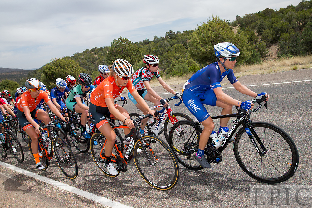 SILVERY CITY, NM - APRIL 19: Lauren Hall (UnitedHealthcare Pro Cycling Team) leads the peloton during stage 2 of the Tour of The Gila on April 19, 2018 in Silver City, New Mexico. (Photo by Jonathan Devich/Epicimages.us)