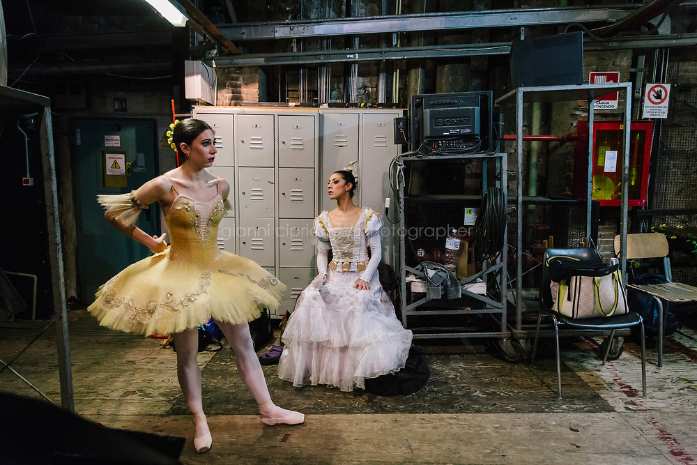 PALERMO, ITALY - 18 FEBRUARY 2018: (L-R) Ballerinas Chiara Sgnaolin and Simona Filippone are seen here backstage during the dress rehearsal of &quot;Don Quixote&quot; at the Teatro Massimo in Palermo, Italy, on February 18th 2018.<br /> <br /> The Teatro Massimo Vittorio Emanuele is an opera house and opera company located  in Palermo, Sicily. It was dedicated to King Victor Emanuel II. It is the biggest in Italy, and one of the largest of Europe (the third after the Op&eacute;ra National de Paris and the K. K. Hof-Opernhaus in Vienna), renowned for its perfect acoustics. It was inaugurated in 1897.