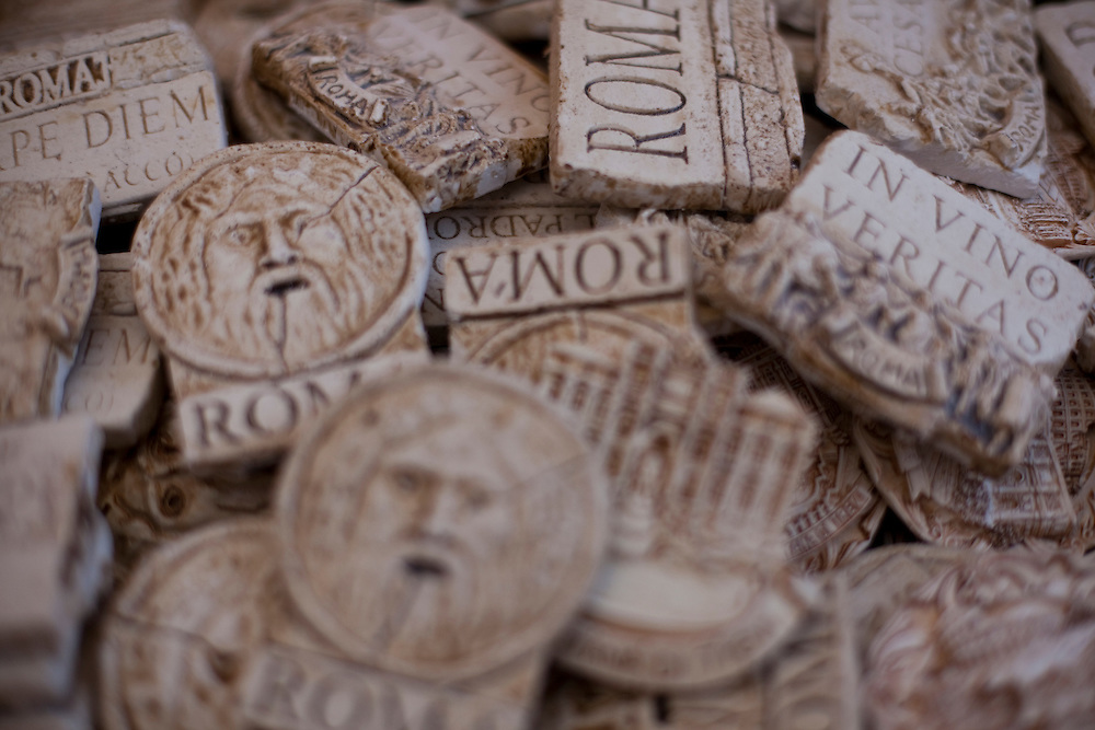 Bocca della Verita (the Mouth of Truth) and other souvenirs from Rome (Italy).