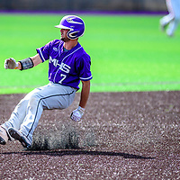 Miyamura Patriot Matt Chavez (7) puts the breaks on after rounding second base while playing the Aztec Tigesr at Miyamura High School Thursday.