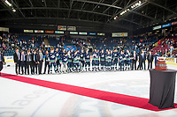 KELOWNA, CANADA - APRIL 30: The Seattle Thunderbirds line up after winning game 6 and taking the title to the Western Conference against the Kelowna Rockets on April 30, 2017 at Prospera Place in Kelowna, British Columbia, Canada.  (Photo by Marissa Baecker/Shoot the Breeze)  *** Local Caption ***
