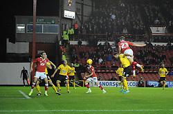 Bristol City's Joe Bryan heads the ball towards goal - Photo mandatory by-line: Dougie Allward/JMP - Mobile: 07966 386802 - 11/11/2014 - SPORT - Football - Bristol - Ashton Gate - Bristol City v AFC Wimbledon - Johnstone Paint Trophy