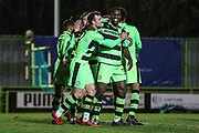 Forest Green Rovers Christian Doidge(9) scores a goal 3-1 and celebrates with Forest Green Rovers Isaiah Osbourne(34) during the EFL Sky Bet League 2 match between Forest Green Rovers and Stevenage at the New Lawn, Forest Green, United Kingdom on 13 February 2018. Picture by Shane Healey.