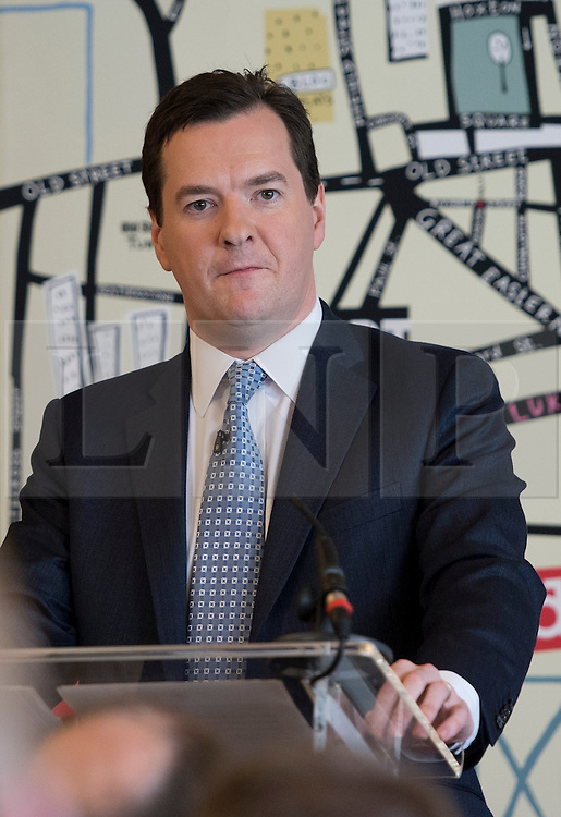© London News Pictures. 25/04/2013. London, UK. Chancellor of the Exchequer GEORGE OSBORNE delivering a speech on the economy at Unruly Media in East London on April 25, 2013 . Photo credit: Ben Cawthra/LNP.