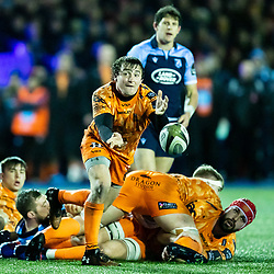 Rhodri Williams of Dragons gets the ball away<br /> <br /> Photographer Simon King/Replay Images<br /> <br /> Guinness PRO14 Round 9 - Cardiff Blues v Dragons - Thursday 26th December 2019 - Cardiff Arms Park - Cardiff<br /> <br /> World Copyright © Replay Images . All rights reserved. info@replayimages.co.uk - http://replayimages.co.uk