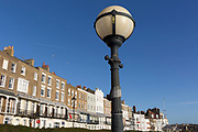 Housing architecture on Ramsgate's Royal Parade, on 8th January 2019, in Ramsgate, Kent, England. The Port of Ramsgate has been identified as a 'Brexit Port' by the government of Prime Minister Theresa May, currently negotiating the UK's exit from the EU. Britain's Department of Transport has awarded to an unproven shipping company, Seaborne Freight, to provide run roll-on roll-off ferry services to the road haulage industry between Ostend and the Kent port - in the event of more likely No Deal Brexit. In the EU referendum of 2016, people in Kent voted strongly in favour of leaving the European Union with 59% voting to leave and 41% to remain.