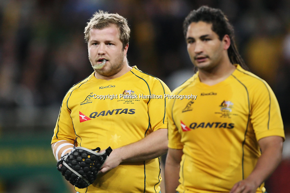 Benn Robinson (l) & Saia Faingaa before the Tri-Nations rugby Test at Suncorp Stadium in Brisbane,  July 24, 2010. The Wallabies defeated the world champion Springboks to win the first Tri-nations rugby Test 30-13. Photo: Patrick Hamilton/Photosport