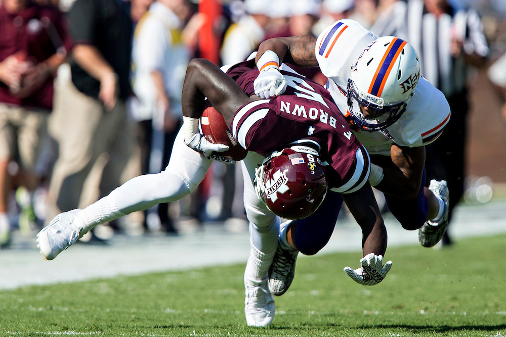 STARKVILLE, MS - SEPTEMBER 19:  Fred Brown #5 of the Mississippi State Bulldogs runs after catching a pass against the Northwestern State Demons at Davis Wade Stadium on September 19, 2015 in Starkville, Mississippi.  The Bulldogs defeated the Demons 62-13.  (Photo by Wesley Hitt/Getty Images) *** Local Caption *** Fred Brown