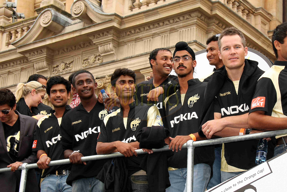 CAPE TOWN, SOUTH AFRICA - 16 April.  Members of the Kolkata Knight Riders during the IPL Team Parade and Carnival through the streets of Cape Town held to launch the IPL Season two which is being held in South Africa between the 18 April and 24th May 2009..