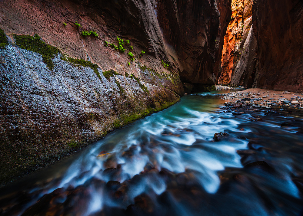 The Wall Street section of the Virgin River Narrows in Zion National Park, Utah.