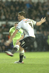 Chris Martin Derby County fires in from the Penalty spot to equalise for Derby and Celebrates, Derby County v Brighton &Hove Albion, IPro Stadium, Sky Bet Championship,  Saturday 12th December 2015