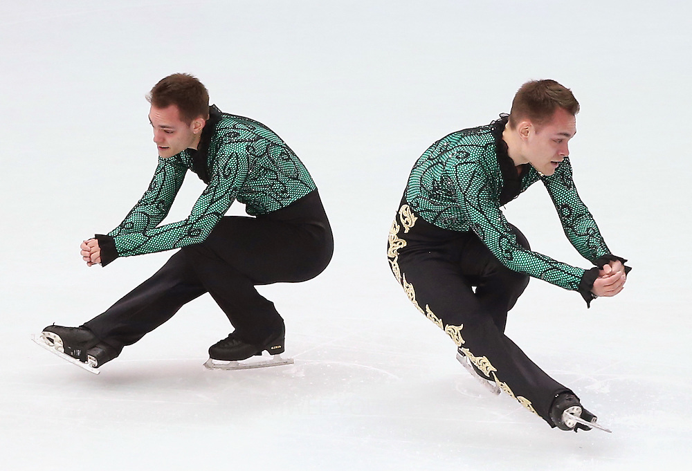 A multiple exposure image shows Paul Bonifacio Parkinson of Italy performing during the Men's Short Program of the Figure Skating event at the Iceberg Palace during the Sochi 2014 Olympic Games, Sochi, Russia, 13 February 2014.
