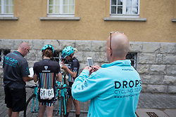 Drops Cycling Team DS Bob Varney takes photos of his team before Stage 3 of the Lotto Thuringen Ladies Tour - a 124 km road race, starting and finishing in Weimar on July 15, 2017, in Thuringen, Germany. (Photo by Balint Hamvas/Velofocus.com)