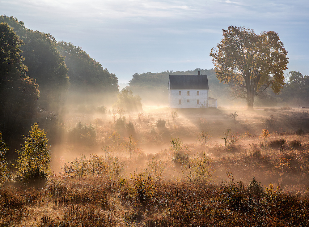 After a rainy night, the fog burns off in an overgrown field just as the sun comes from behind a bank of clouds. An old white farmhouse with a large tree in the yard slowly appears through the mist, casting shadows and backlit by the sun.