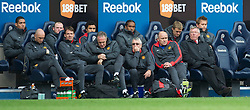 BOLTON, ENGLAND - Sunday, September 26, 2010: Manchester United's manager Alex Ferguson with substituted Wayne Rooney on the bench during the Premiership match at the Reebok Stadium. (Photo by David Rawcliffe/Propaganda)
