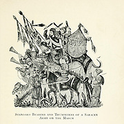Standard Bearers and Trumpeters of a Saracen Army on the March From the book Jerusalem and the crusades by Blyth, Estelle Published in London by T.C. & E.C. Jack Circa 1913