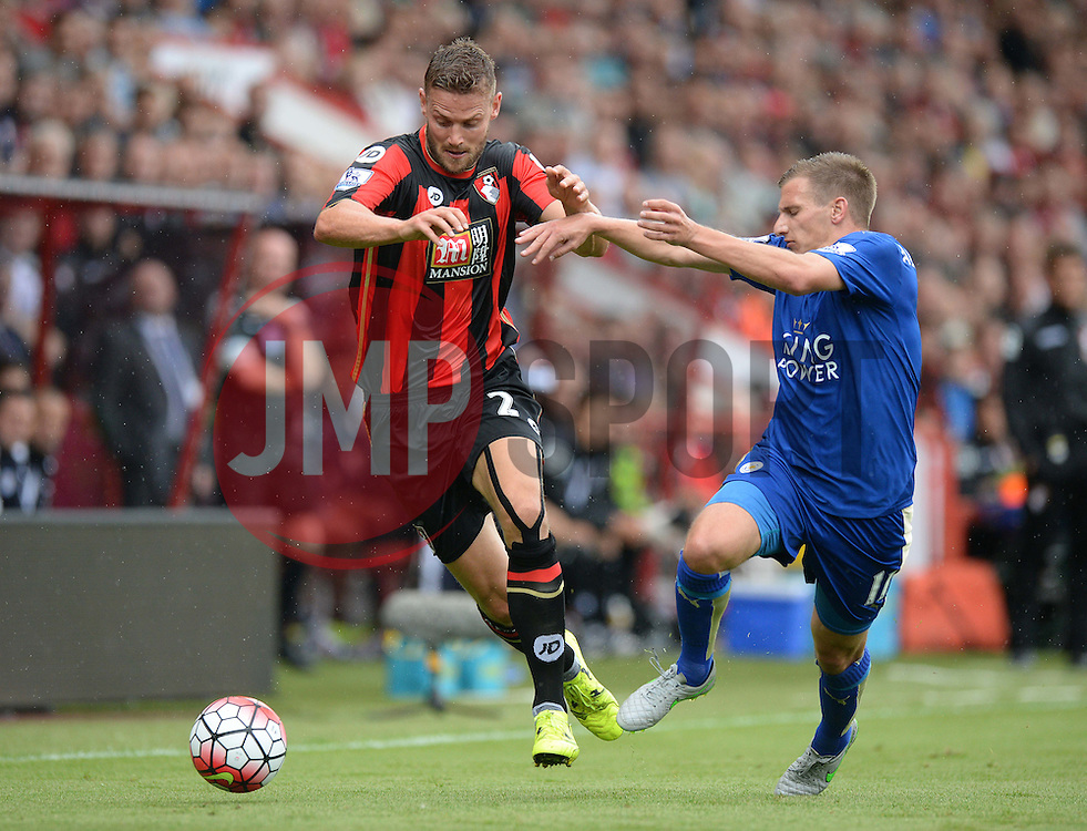 Simon Francis of Bournemouth Battles for the ball with Marc Albrighton of Leicester City - Mandatory byline: Alex James/JMP - 07966386802 - 29/08/2015 - FOOTBALL - Dean Court -Bournemouth,England - AFC Bournemouth v Leicester City - Barclays Premier League