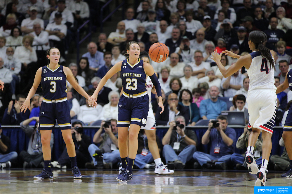 Sister Marina Mabrey, (left) and Michaela Mabrey, Notre Dame, in action during the Notre Dame Vs UConn Women's Basketball game at Grampel Pavilion, Storrs, Connecticut, USA. 5th December 2015. Photo Tim Clayton