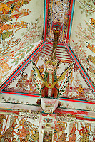 Painted ceiling and dragon in the Hall of Justice at Kerta Gosa in Klungklung in Bali Indonesia