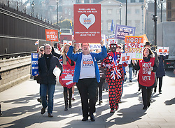 © Licensed to London News Pictures. 14/02/2019. London, UK. Supporters calling for World Trade Organisation rules demonstrate outside Parliament ahead of a Brexit vote in the House of Commons later today. Photo credit: Peter Macdiarmid/LNP