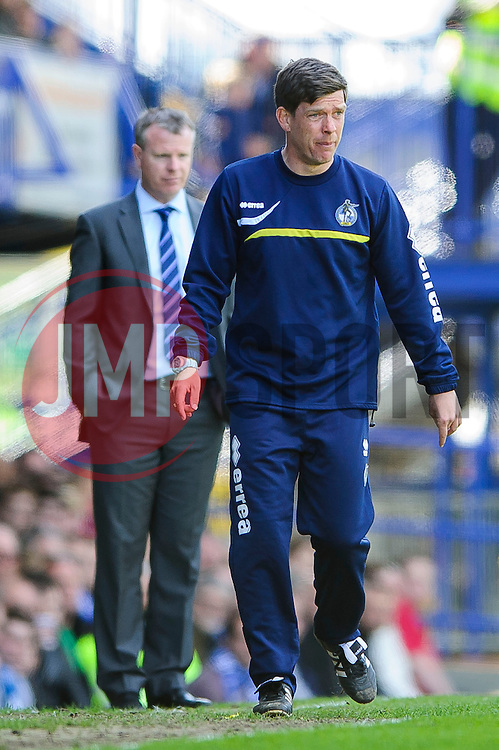 Manager Darrell Clarke (ENG) of Bristol Rovers and Manager Andy Awford (ENG) of Portsmouth looks on - Photo mandatory by-line: Rogan Thomson/JMP - 07966 386802 - 19/04/2014 - SPORT - FOOTBALL - Fratton Park, Portsmouth - Portsmouth FC v Bristol Rovers - Sky Bet Football League 2.