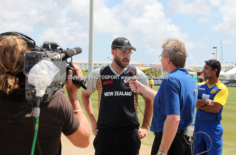 Vetori being interviewed by ESPN. New Zealand Black Caps v Sri Lanka, international exhibition Twenty 20 cricket match, Central Broward Regional Park, Florida, United States of America. 23 May 2010. Photo: Barry Bland/PHOTOSPORT