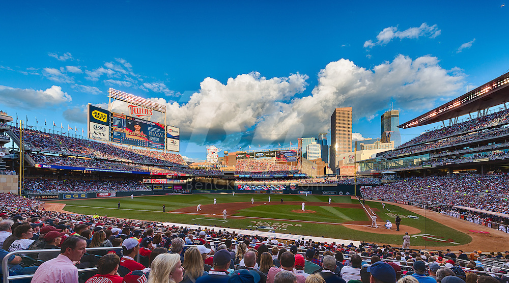 [Note:  This photo was created by combining multiple exposures into a high dynamic range image during post-processing].  A general view of Target Field during the 2014 MLB All Star Game on July 15, 2014 in Minneapolis, Minnesota.  Photo by Ben Krause